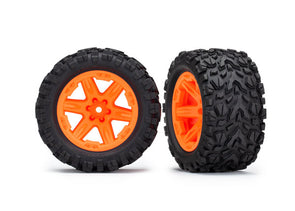 Traxxas Tires & wheels, assembled, glued (2.8') (Rustler 4X4 orange
