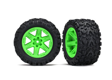 Traxxas Tires & wheels, assembled, glued (2.8') (Rustler 4X4 green