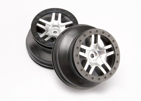 "6872 Wheels, SCT Split-Spoke, satin chrome, black beadlock style, dual profile (2.2"" outer, 3.0"" inner) (4WD front/rear, 2WD rear only) (2)"