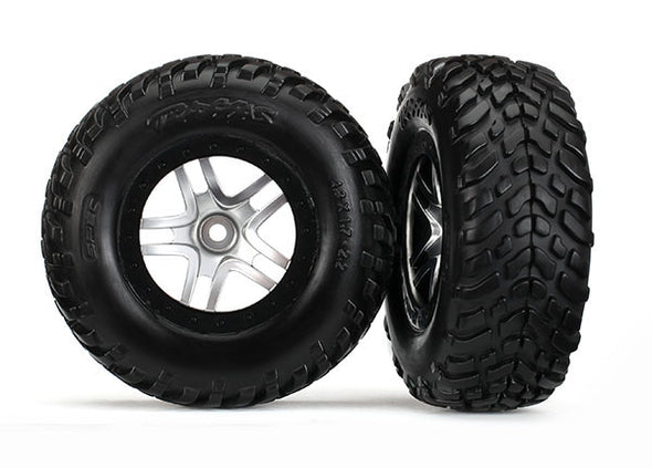 "6892R Tires & wheels, assembled, glued (S1 compound) (SCT Split-Spoke satin chrome, black beadlock style wheels, dual profile (2.2"" outer, 3.0"" inner), SCT off-road racing tires, foam inserts) (2) (4WD f/r, 2WD rear) (TSM rated)"