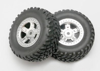 7073 Traxxas Tires and wheels, assembled, glued (SCT satin chrome whe