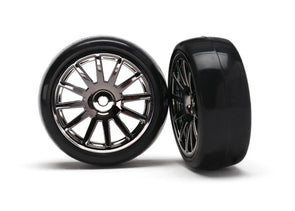 7573A Traxxas LaTrax Pre-Mounted Slick Tires & 12-Spoke Wheels (Black chrome)