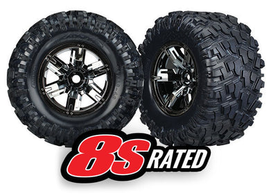 7222A Tires & wheels, assembled, glued X-Maxx black chrome wheels