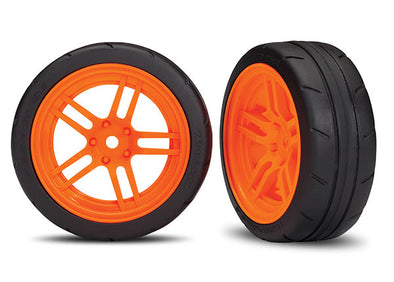 "8373A Traxxas Tires And Wheels, Assembled, Glued (Split-Spoke Orange Wheels, 1.9"" Response Tires) VXL Rated (Front)"