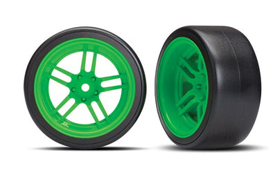 Traxxas Tires and wheels, assembled, glued (split-spoke green wheels, 1.9' Drift tires) (rear)