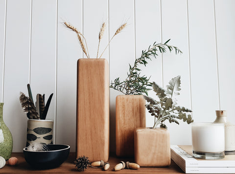 Pod Australian Hardwood Stem Vases - Set of three