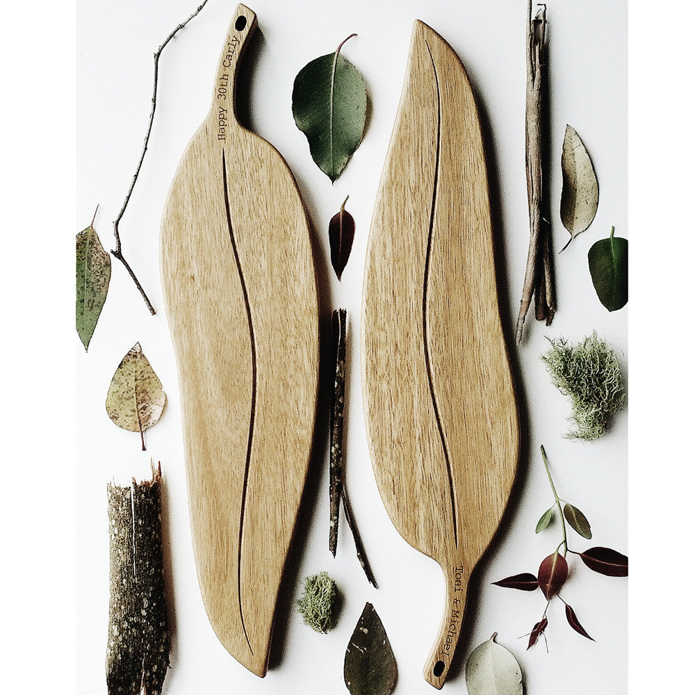 Personalised Gumleaf Serving Board crafted from Australian Spotted Gum hardwood - an authentic Australian souvenir.