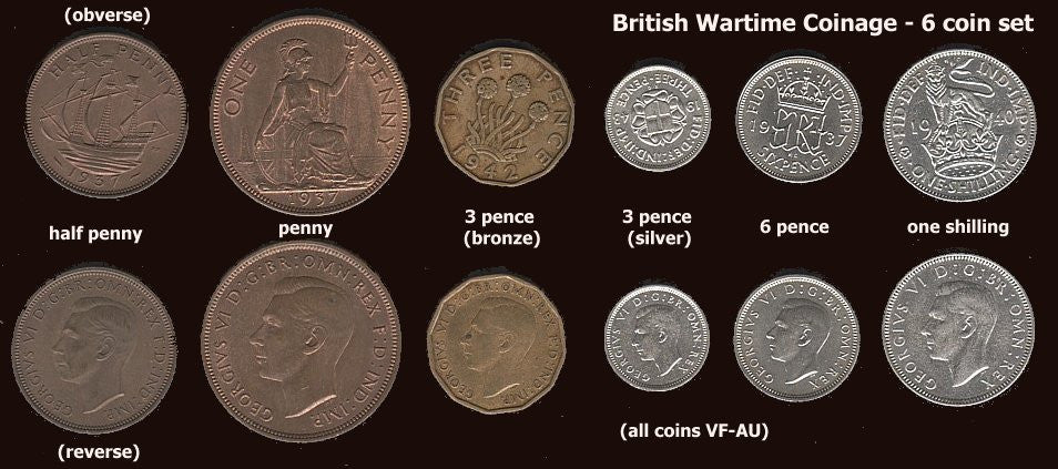 WWII coinage of Great Britain.  6 Coin Set-Hard to Assemble. - J.V. Bond Company