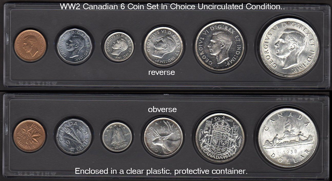 Canadian War-time 6 Coin Set-Ch-Unc-Rare. - J.V. Bond Company