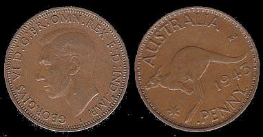 Australian Copper Penny-VF-EF-Scarce. War date our choice. - J.V. Bond Company