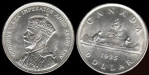 1935 Canadian Silver Jubilee Dollar-Choice Unc-Scarce. - J.V. Bond Company