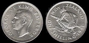 1941 New Zealand Silver Shilling- AU-Unc. Scarce. - J.V. Bond Company