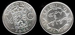 1941 Netherlands-East Indies- 1/4 Gulden-Silver-BU-Scarce. - J.V. Bond Company