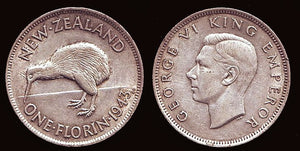 New Zealand 1 Florin in VF-EF - J.V. Bond Company