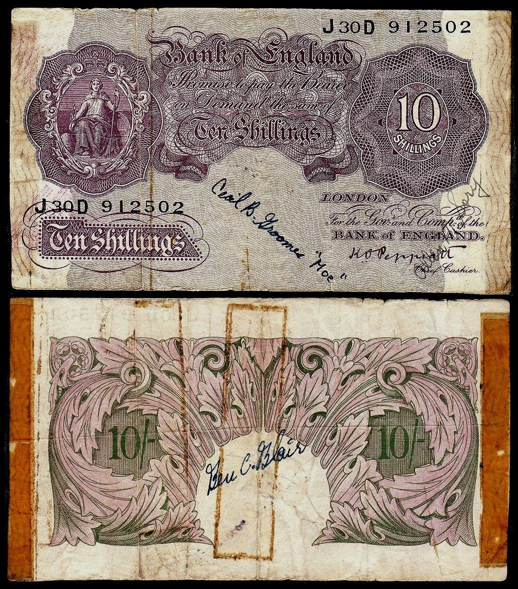 British Short Snorter 10 Shilling note-Wartime-unique. - J.V. Bond Company