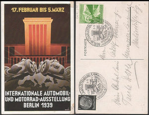 Colorful Art card for the International Auto & Race car Expo in Berlin 1939. Rare. - J.V. Bond Company