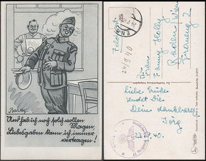Feldpost Cartoon Card-with appropriate cancels- Scarce. - J.V. Bond Company
