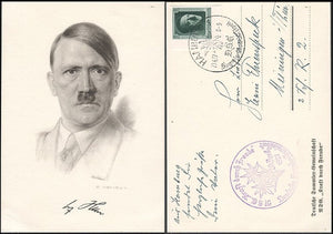 Adolf Hitler Lithograph Card-with His Signature reproduced-Very Rare! Pristine. - J.V. Bond Company