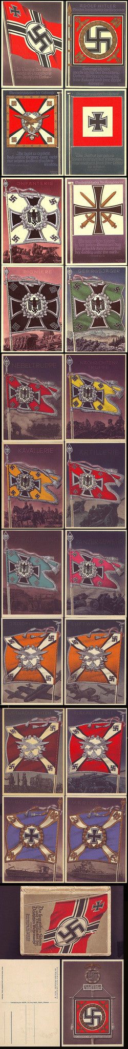 Wehrmacht Flags and Standarts-Complete set of 21 postcards, with container. Mint+. Extremely Rare. - J.V. Bond Company