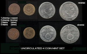 1936-39 Uncirculated 4 coin set. - J.V. Bond Company