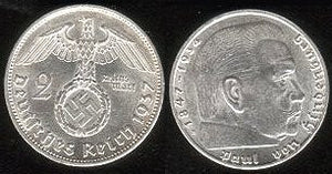 2 mark piece (Gem Unc.) silver. 2nd largest coin of Hitlers Reich. 1939-A - J.V. Bond Company