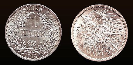 Kaiser Reich Germany, 1 Mark 1914-A. (Gem Uncirculated). Rare. - J.V. Bond Company