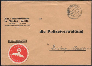 (Free postage cover) Peoples court to The Police Administration. Rare. - J.V. Bond Company