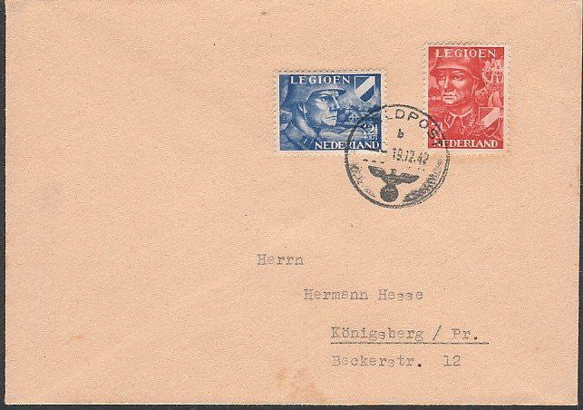 Rare Feldpost Cover-With Dutch SS Legion stamps. Sent to Hermann Hesse. - J.V. Bond Company