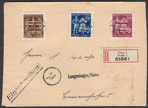 Rare Registered cover from Prague. Complete stamp set. - J.V. Bond Company