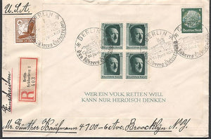 Berlin Hitlers birthday cancels registered airmail to the USA- Scarce! - J.V. Bond Company