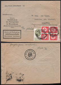 Official Nazi Party business Cover-With Eagle and Swastika cachet on reverse. Rare! - J.V. Bond Company