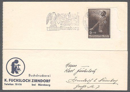 Cut cover with Eagle-swastika cancel from Nurnberg & business cachet. - J.V. Bond Company