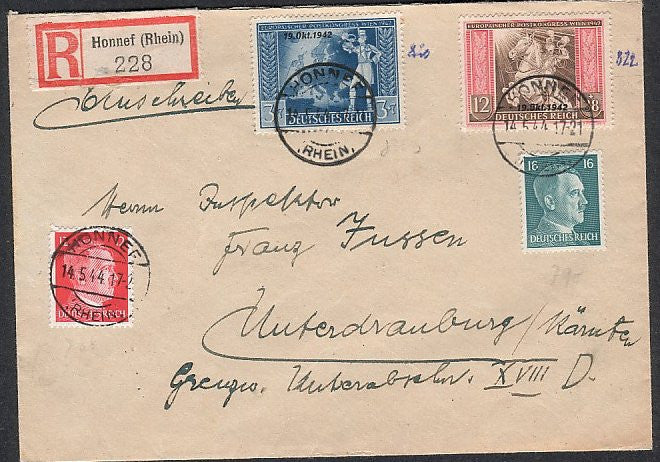 Hitler head stamps on registered cover . Clean. - J.V. Bond Company