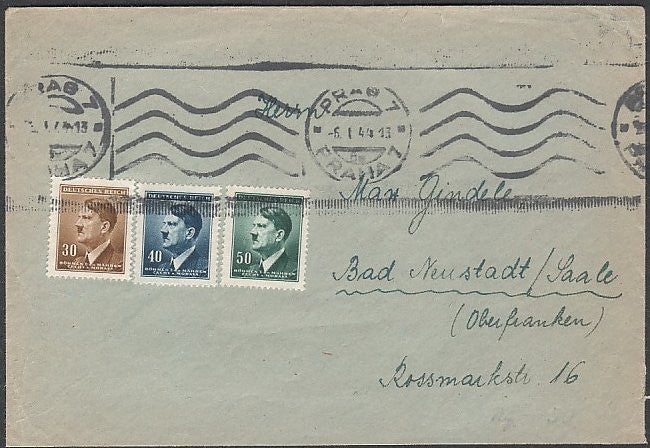 Hitler heads on a Prag cover. 1944. Clean and attractive. - J.V. Bond Company