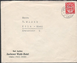 Nazi Eagle & Swastika Stamp cover to Cologne. - J.V. Bond Company