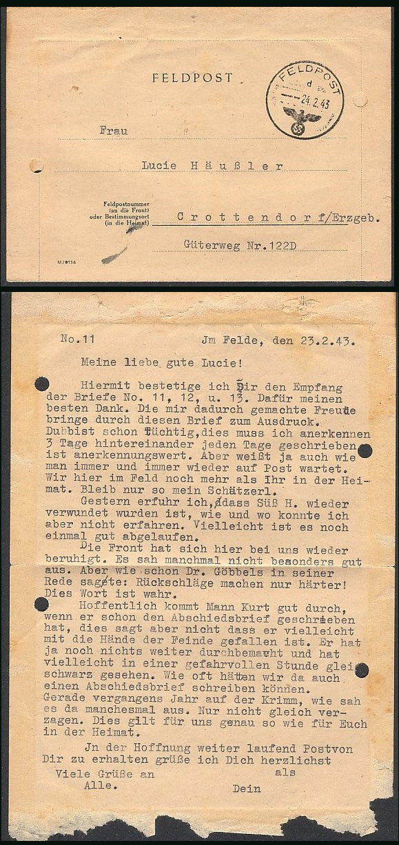 Feldpost Eagle & Swastika clear cancel with letter from the front- RARE! - J.V. Bond Company