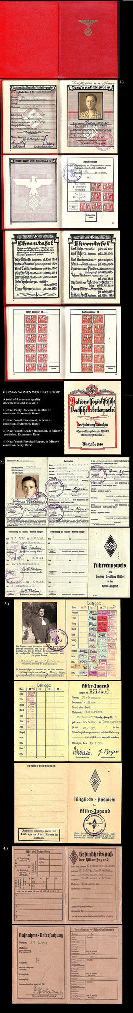 Nazi Party ID book and Set of 3 Hitler Youth Documents - J.V. Bond Company