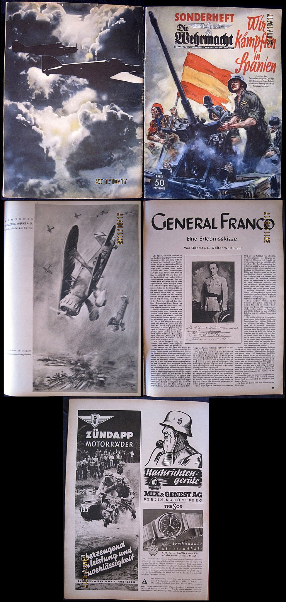 Die Wehrmacht, Special Edition, We are Fighting in Spain Issue. Very Rare. - J.V. Bond Company