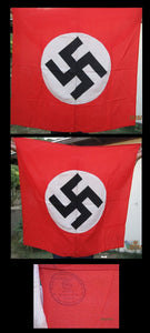 Nazi Party (NSDAP) Flag. Excellent+ / Mint. Rare. 39x39 inches. - J.V. Bond Company