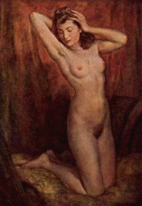 Beautiful young nude girl posing-painting by Wilhelm Hempling. - J.V. Bond Company