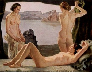 Three nude young women looking at an island scene-Painting. - J.V. Bond Company