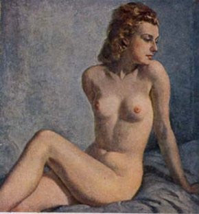Attractive young nude girl-Painting by Wilhelm Hempling. - J.V. Bond Company