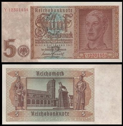 Nazi Germany 5 Mark banknote. Cr-Uncirculated. Scarce. 1942 Issue. - J.V. Bond Company