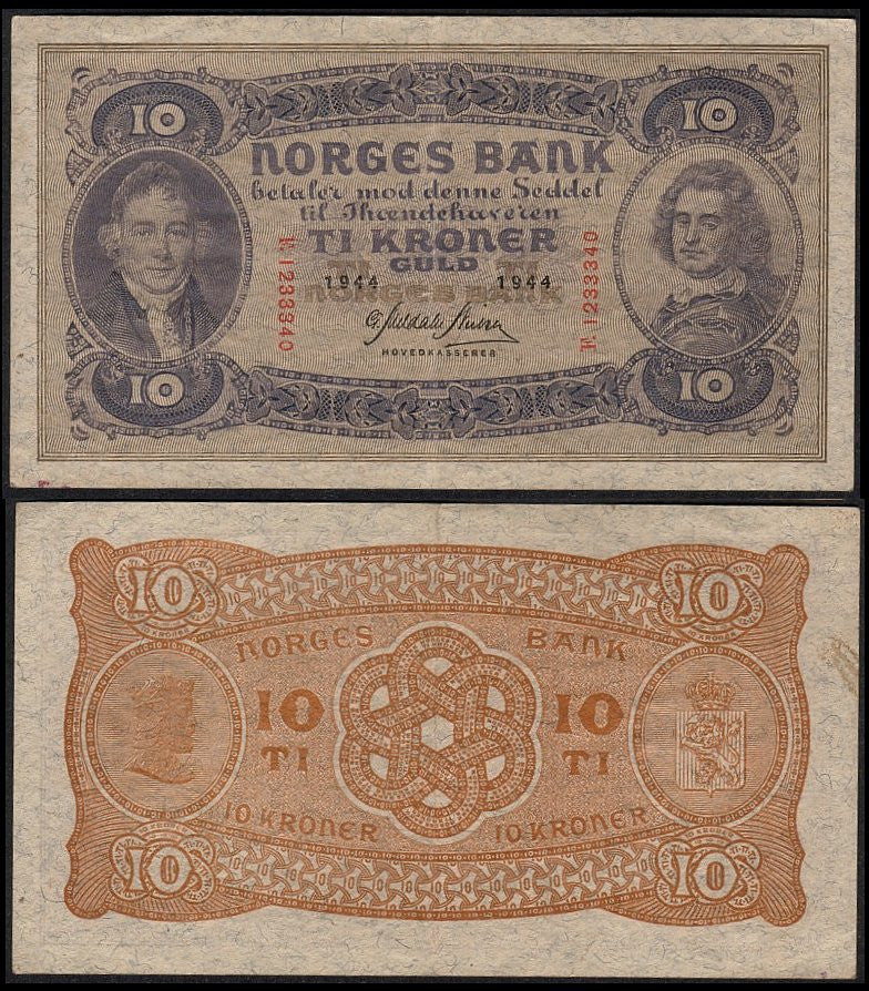 Nazi Occupied Norway-10 Kroner - J.V. Bond Company