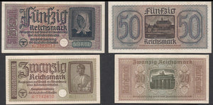 Nazi Occupied Territories-2 Banknote-Circulated Set.-Scarce. - J.V. Bond Company