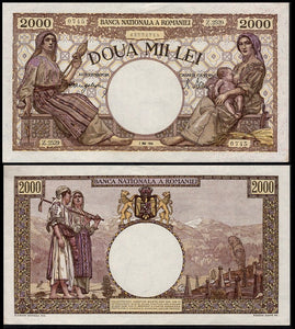 Romania, Nazi Ally, 2000 Lei note- 1944, Uncirculated. Scarce/Rare. - J.V. Bond Company