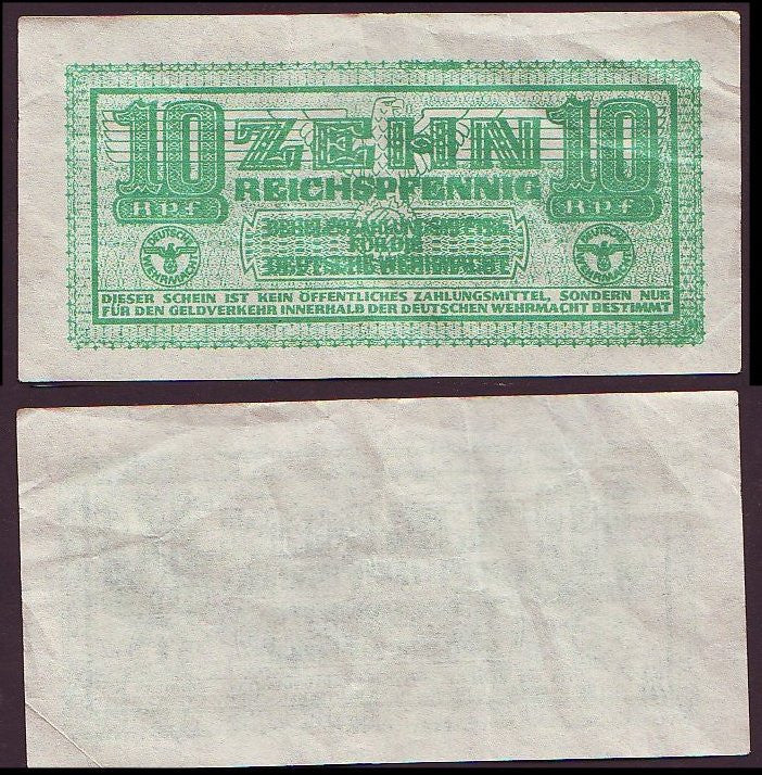 Wehrmacht 10 Pfennig Military Payment Certificate. EF. Very Scarce. 1942 Issue. - J.V. Bond Company