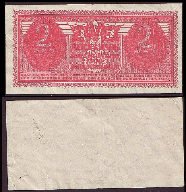 Wehrmacht 2 Reichsmark Military Payment Certificate. VF+. Very Rare. 1942 Issue. - J.V. Bond Company
