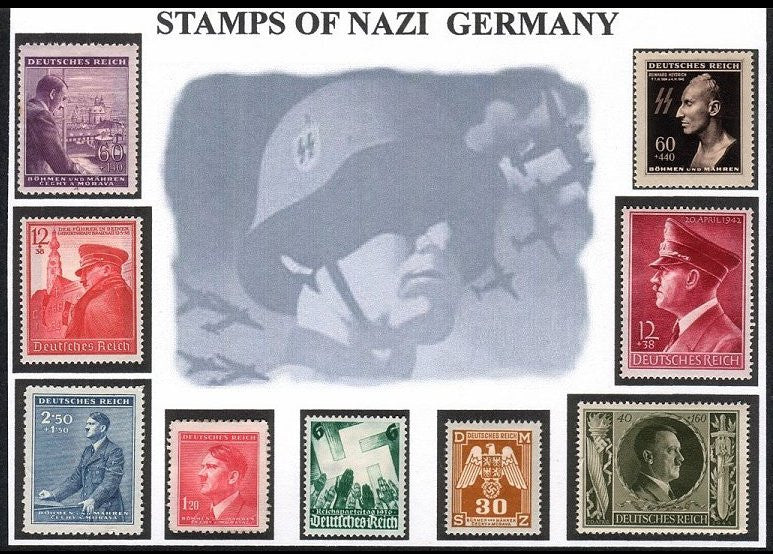 Featuring the Heydrich SS death mask stamp. Nine mint stamps nicely hinge mounted on this attractive illustrated card. - J.V. Bond Company