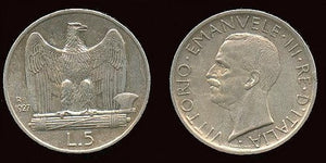 5 Lire Silver, AU+, (1927-30-R) Scarce in High Grades. - J.V. Bond Company